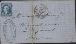 """YT 22 Napoléon Dentelé 20ct Bleu Oblitération étoile """"29""""  CAD Paris R Mouffetard 28 7 64 Bureau Rare Arrivée Lyon - 1849-1876: Période Classique"""