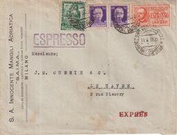 ITALIE : PAR EXPRES . TIMBRES PERFORES . POUR LA FRANCE . 1938 . - Vari