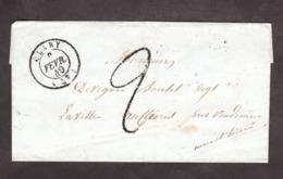 LSC - Février 1849 - Clary (Nord) Pour La Ville Aux Clercs (Loir Et CHer) Par Vendôme - Port Dû Façon Manuscrite 2 Déc - 1849-1876: Klassieke Periode