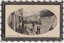 4AF1055 GRECE ZANTE RUE ST LAZARE Tres Animé Anes 2 SCANS UN TOUT PETIT TROU EN HAUT - Grèce