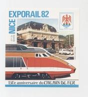BLOC FEUILLET PRIVÉ  EXPORAIL  NICE  27-31 MARS 1982  150éme ANNIVERSAIRE DU CHEMIN DE FER - Blocs & Feuillets