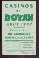 "Programme "" Casinos De Royan "" Du 2 Août 1967 - Programmes"
