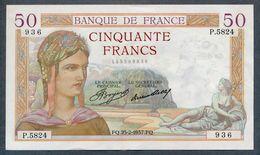 France 50 CERES  25-2-1937 SUP/SPL - 1871-1952 Antichi Franchi Circolanti Nel XX Secolo