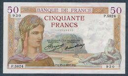 France 50 CERES  25-2-1937 SUP+ - 1871-1952 Antichi Franchi Circolanti Nel XX Secolo