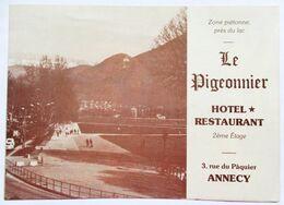 FEUILLET PUBLICITE 1988 HOTEL RESTAURANT LE PIGEONNIER 3 RUE DU PAQUIER ANNECY - Publicités