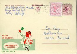 56187 Belgium Publibel  2327 N  Nationale Loterij ,  2f+1f Circuled - Stamped Stationery