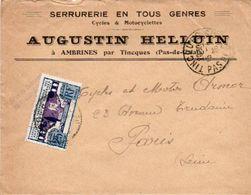 V7SM Enveloppe Timbre Exposition Paris 1925 Entête 62 Ambrines Par Tincques Serrurerie Cycles Motos Augustin Helluin - 1921-1960: Modern Period