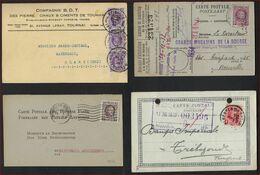 HOUYOUX 4 Postkaarten Met Verschillende Perfin + 1 X Met Fiscale Zegel / Taxes Fiscales ; Staat Zie 2 Scans ! LOT 120/1 - Perfins