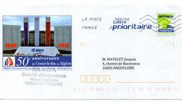 Entier Postal PAP Repiqué Charente Angoulème 50e Anniversaire Cessez Le Feu En Algérie FNACA - Enteros Postales