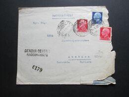 Italien 1938 Einschreiben Stempel L2 Genova Centro Raccomandate Nach Ansbach Insgesamt 8 Stempel!! - Versichert