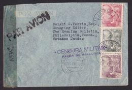 Spain: Airmail Cover To USA, 1945, 3 Stamps, 2x Censored, Censor Cancel Palma De Mallorca, Via Ibiza (minor Damage) - 1931-50 Covers