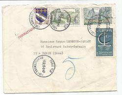 BLASON 10C TROYES + EUROPA 30C +  1FR CARNACX2 PNEUMATIQUE PARIS 108 15.2.1967 - 1941-66 Armoiries Et Blasons