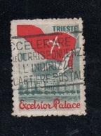 TEMATICA ALBERGHI - TRIESTE - EXCELSIOR PALACE  - ETICHETTA PUBBLICITARIA PASSATA PER POSTA - ERINNOFILO CHIUDILETTERE - 6. 1946-.. Republic