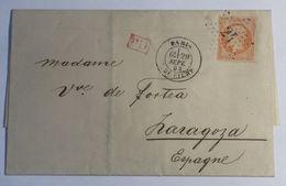 Lettre Affranchie à 40c En étoile De Paris N°24sur N°23 - 1849-1876: Période Classique