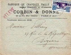 V7SM Enveloppe Timbre Exposition Paris 1925 Entête Paris Rue Chapon Chapeaux Paille Femmes Et Fillettes Corbin & Donne - Poststempel (Briefe)