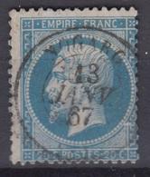 FRANCE : EMPIRE 20c BLEU N° 22 RARE ET TTB CACHET DE NOGARO GERS DU 13 JANV 67 - 1862 Napoléon III