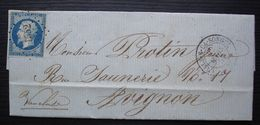 L' Isle-sur-la-Sorgue 1857 (Vaucluse) Pc 1552 Sur N°14, Lettre Pour Avignon - 1849-1876: Période Classique