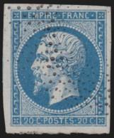 France N°14B, Napoléon 20 Bleu, Type II, Oblitéré Pointillés - SUPERBE - 1853-1860 Napoléon III