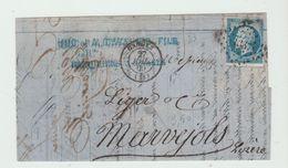 HERAULT : GANGES, P.C 1337 + CàD Type 15 / LAC De 1860 Pour Marvejols - Marcophilie (Lettres)