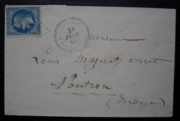 La Roche-Beaucourt GC 3158 Dordogne Cachet Tireté De 1869 Sur Lettre Pour Nontron - 1849-1876: Classic Period