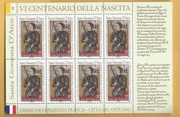 Bloc 8 Timbres Jeanne D'Arc N° 1737 De 2012 Du VATICAN - Vatican