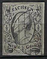 ALLEMAGNE Saxe 1855: Le Y&T 7 TB Obl. Couronne  ''11'' - Saxony