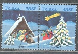 Poland 1995 Christmas- Mi 3565-66 - Horizontal Pair - Used Gestempelt - Used Stamps
