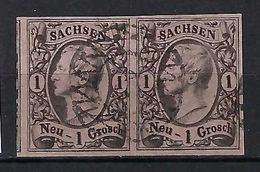 ALLEMAGNE Saxe 1855: Paire Du Y&T 8, B Obl. Couronne - Saxony