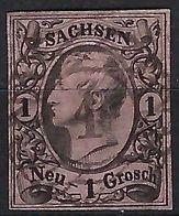 """ALLEMAGNE Saxe 1855: Le Y&T 8, TB Obl. Couronne """"1"""" - Saxony"""