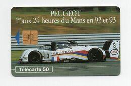 Télécarte Peugeot 1er Aux 24 Heures Du Mans En 92 Et 93 - Cars