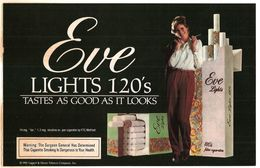 EVE LIGHTS 120'S PUBBLICITA' ORIGINALE PICTURE OF VINTAGE PAPER SIGARETTE - Articoli Pubblicitari