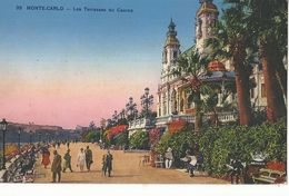 CPA ,Monaco ,N° 35, Les Terrasses Du Casino , Ed. Munier 1939 , Avec Timbre Flamme, Y.T 172 - Terrassen