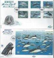 Jersey. Scott # 951-57 FDC Set Of 2 Covers. Marine Life Mammals. 2000 - Marine Life