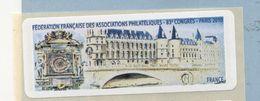 2010 LISA 1  VIGNETTE VIERGE 83ème Congrès FFAP à PARIS - 2010-... Illustrated Franking Labels