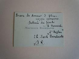Carte De Visite Autographe Maurice ROSTAND (1891-1968) POETE - Autographs