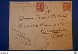 173 MAROC POSTES CHERIFIENNES LETTRE 1913 TRES RARE SIGNEE A DROITE EN BAS :RES GEN DE LA REP FRANC RABAT A CARPENTRAS - Postes Locales & Chérifiennes