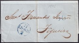 1843. LISBOA A FIGUEIRA. FECHADOR OVALADO LISBOA Y PORTEO 30 REIS, AMBAS EN AZUL. MUY BONITA. - Portugal