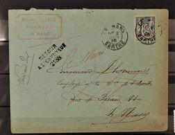 07 - 20 - Lettre Du Mans  - Griffes Retour à L'envoyeur 2188 + Parti Sans Laisser D'adresse (au Dos) - 1876-1898 Sage (Type II)