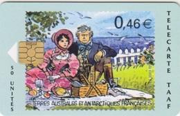 Télécarte 50U, Tirage 1500, Dumont D'Urville En Pique-nique Avec Son épouse - TAAF - Terres Australes Antarctiques Françaises