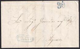 1840. PORTO A FIGUEIRA. MARCA PORTO LINEAL RECERCADA PORTEO 30 REIS, AMBOS AZUL INTENSO TIPO GRANDE. BONITA. - Portugal