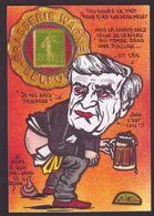 CPM Timbre Monnaie Tirage Limité Signé En 30 Ex. Numérotés Satirique Bière Beer - Münzen (Abb.)