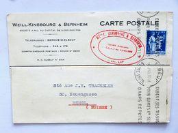 FRANCE > SUISSE, 1940, Carte Postale, ELBEUF > BERNE / Affr.: 1f50 PAIX, PERFORÉ / PERFINS, Seul - Perfins