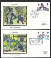 Great Britain, Gran Bretagna 1985; Christmas Pantomime, With Woman Cat, Donna Gatto; 2 FDC Envelopes. - Domestic Cats