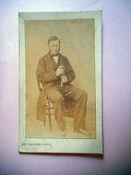 PHOTO CDV 19 EME HOMME TYPIQUE ET SA CANNE  MODE  Cabinet FAUCHER  A LIMOGES - Oud (voor 1900)