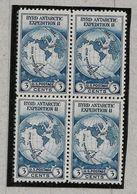 Rou2 - ETATS UNIS - PO 323 - Bloc De 4 - BYRD ANTARCTIC EXPEDITION II - - Polar Exploradores Y Celebridades