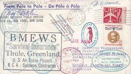 DE POLE A POLE. ETATS UNIS ENVELOPPE CIRCULEE ARCTIQUE A ANTARTIQUE, AN 1961 -LILHU - Polar Philately