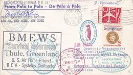 BMEWS SURVIVAL INSURANCE, GREENLAND. ETATS UNIS ENVELOPPE CIRCULEE ARCTIQUE A ANTARTIQUE, AN 1961 -LILHU - Polar Philately