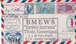 BMEWS SURVIVAL INSURANCE, GREENLAND. ETATS UNIS ENVELOPPE CIRCULEE ARCTIQUE A ANTARTIQUE AN 1962 -LILHU - Polar Philately