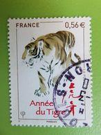 Timbre France YT 4433 - Année Lunaire Chinoise Du Tigre - Tigre Et Idéogrammes - 2010 - Used Stamps