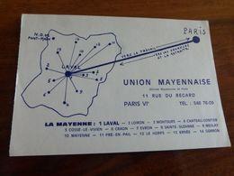 53  -   LAVAL LA MAYENNE UNION MAYENNAISE DE PARIS CARTE PUBLICITAIRE    @    VUE RECTO/VERSO AVEC BORDS - Laval